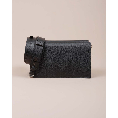 Achat Tracolina - Grained leather shoulder bag with flap and adjustable strap - Jacques-loup