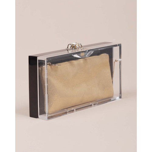 Achat Perspex - Transparent plexi clutch bag with gold colored bag inside - Jacques-loup