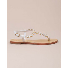 Emmy Pearl - Leather thong sandals with pearls