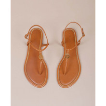Emmy - Leather toe thong sandals with gold logo