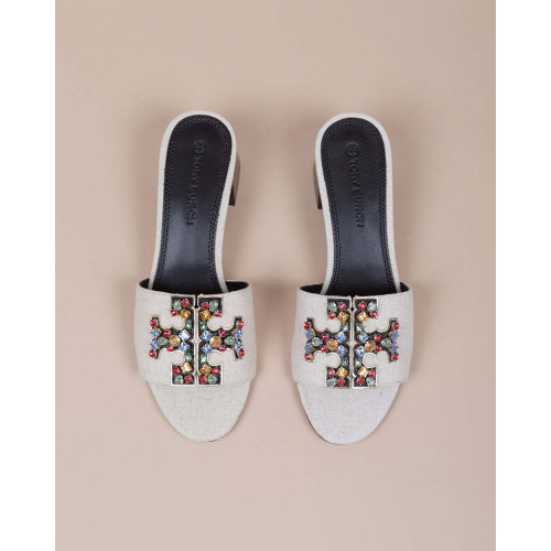 Achat Ines - Canvas mules with logo decorated with colorful stones 55 - Jacques-loup
