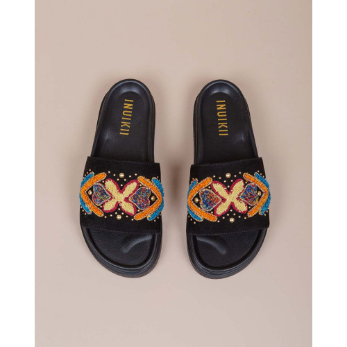 Achat Suede mules with embroidery and African design - Jacques-loup