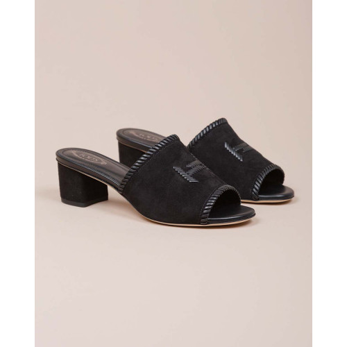 Achat Suede mules with double T logo 50mm - Jacques-loup