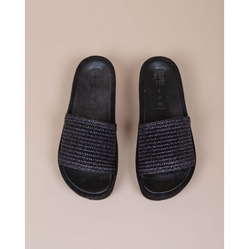 Achat Mules with calf leather and large raffia band - Jacques-loup