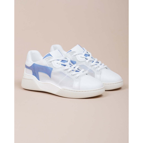 Achat Cassetta Leggera - Opaque tulle and leather sneakers - Jacques-loup