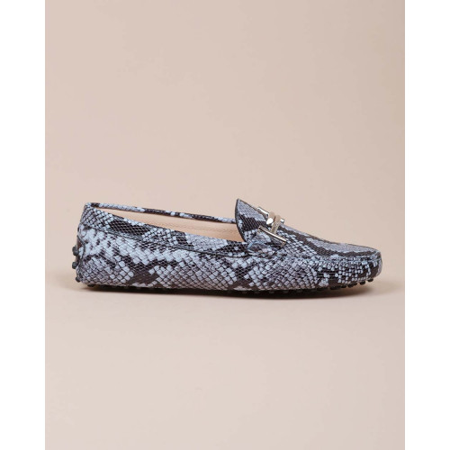 Achat Doppia T - Leather moccasins with python print and rubber pins - Jacques-loup