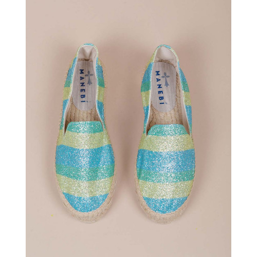 Achat Slip-on shoes with bright spangled fabric and platform heel 30 - Jacques-loup