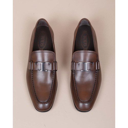 Achat T Piatta Gomme Leggera - Patina calf leather moccasins with metallic T 20 - Jacques-loup