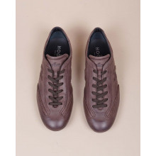 Olympia - Patina calf leather sneakers with stitched cuts