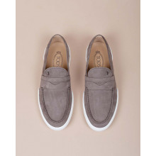 Riviera - Nubuck moccasins with overstitched penny strap