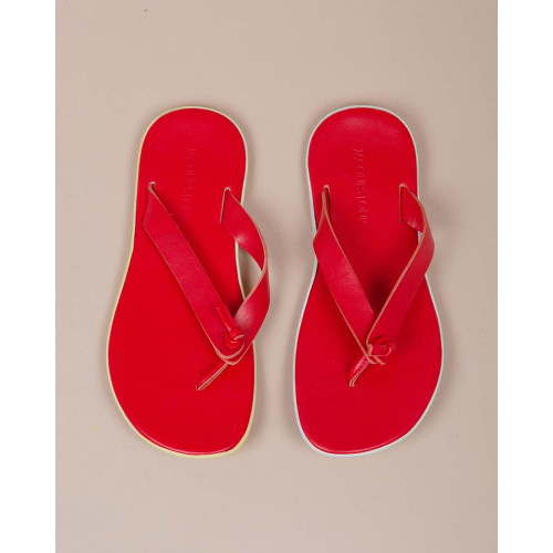 Achat Leather flip flops with white outer sole - Jacques-loup