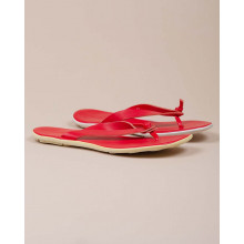 Leather flip flops with white outer sole