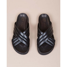 Nappa leather mules with 2 crossed padded straps