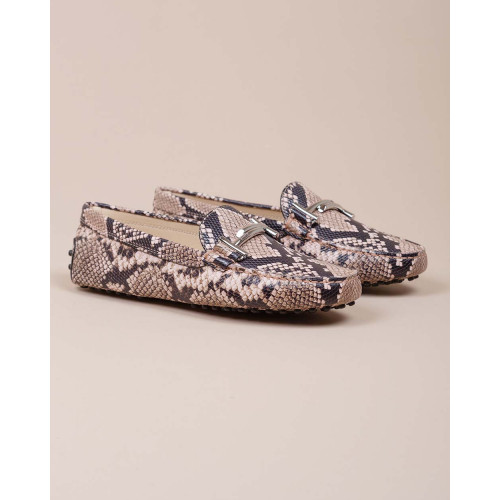 Achat Doppia T - Leather moccasins with metallic bit and python print - Jacques-loup