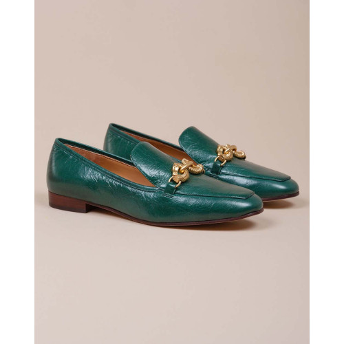 Achat Crumpled calf leather moccasins with metallic seahorse bit 20 - Jacques-loup