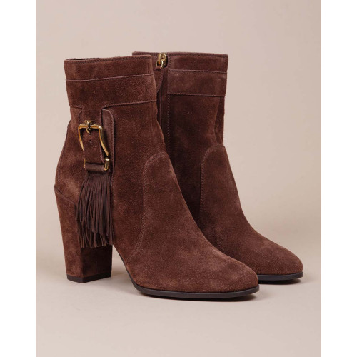 Achat Gomma Tronchetto Frangia - Split leather boots with fringes on sides 85 - Jacques-loup