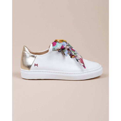 Achat Leather sneakers with floral ribbon and gold buttress - Jacques-loup