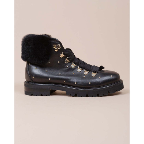 Achat Leather boots with fur inner lining and metal studds - Jacques-loup