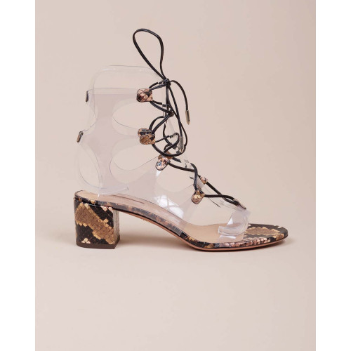 Achat Transparent sandals with python print - Jacques-loup
