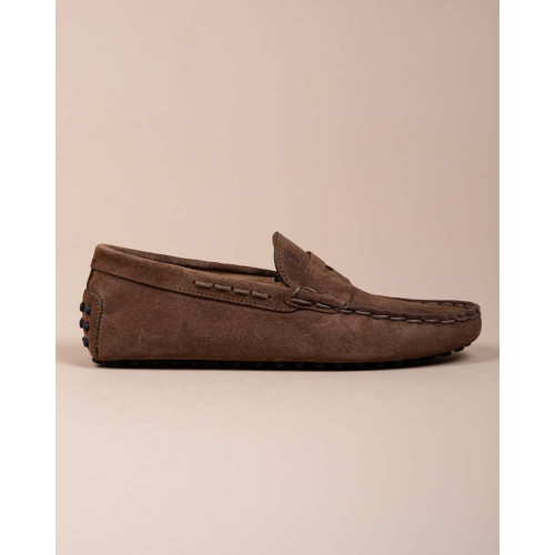 Achat Gommini Infilatura - Split leather moccasins with tab and topstitching - Jacques-loup