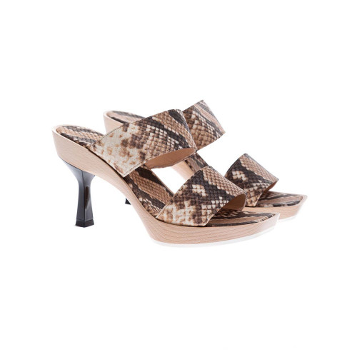 Achat Leather open-toe mules with python print 65 - Jacques-loup