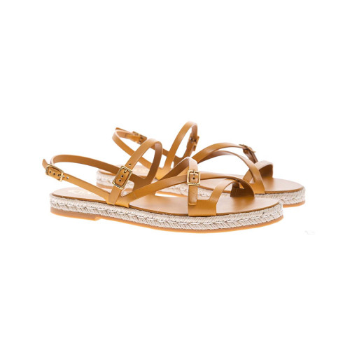Achat Calf leather flat sandals with soft straps - Jacques-loup