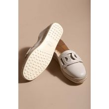 Nappa leather espadrilles with rope sole and link design