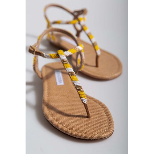 Achat Raphia thong sandals decorated with pearls - Jacques-loup