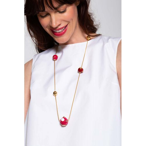 Achat Long gold plated necklace with resin red balls - Jacques-loup