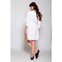 Popeline cotton shirt dress with rooster embroidery LS