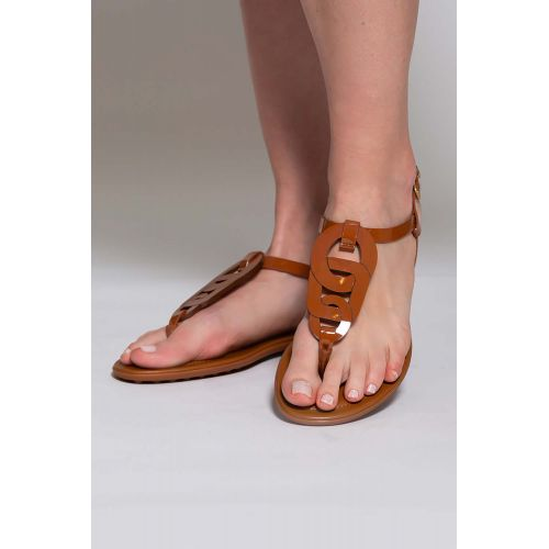 Achat Patent calf leather toe thong sandals with link design - Jacques-loup