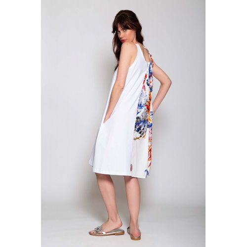 Achat Cotton and jersey asymmetrical dress with rooster print - Jacques-loup