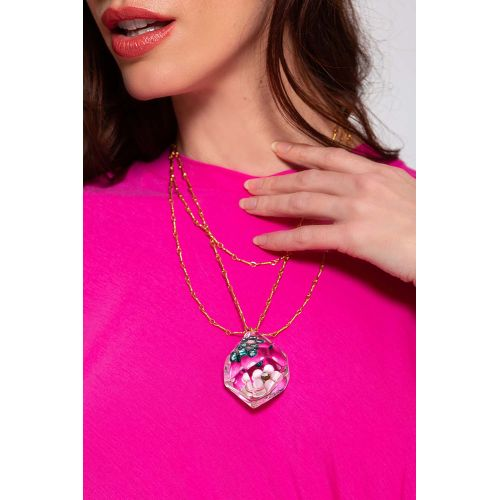 Achat Necklace with pendant and pink flowers - Jacques-loup