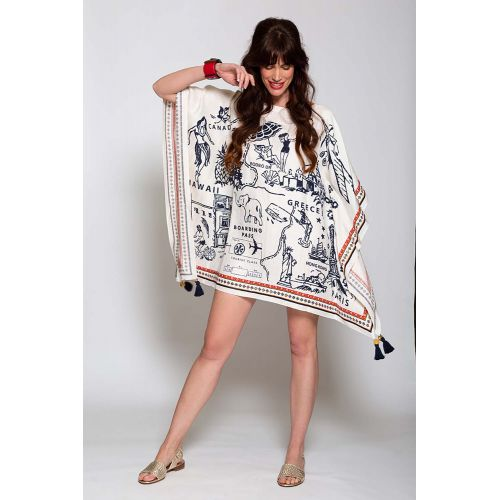 Achat Silk and linen caftan with travel themed print - Jacques-loup