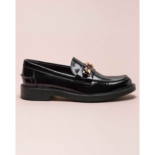 Achat Glazed leather moccasins with tab and chain 20 - Jacques-loup