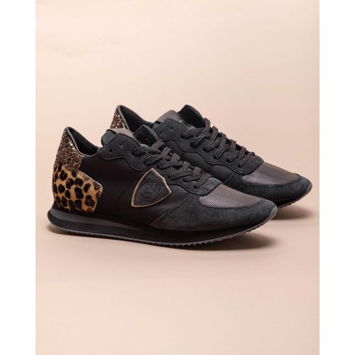 Achat Tropez X - Split leather and nylon sneakers with leopard print - Jacques-loup