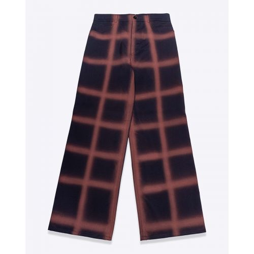 Achat Wool and crepe large trousers with squares - Jacques-loup