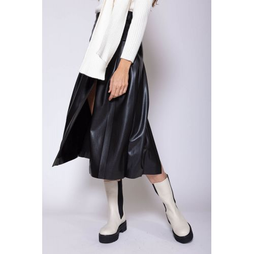 Achat Paneled eco leather skirt with split - Jacques-loup
