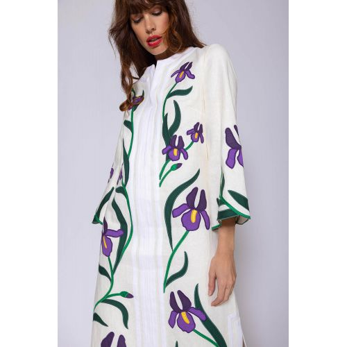 Achat Linen caftan with embroidered applications - Jacques-loup