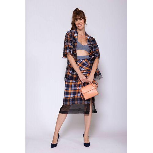 Achat Silk and cotton flannel skirt with knot and split - Jacques-loup