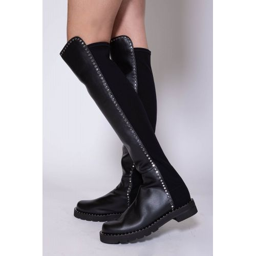 Achat 5050 - Leather and stretch tissu over the knee boots with flat nails 35 - Jacques-loup