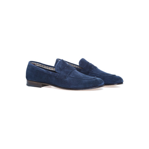 Moccasins Fratelli Rossetti navy blue with strap for men