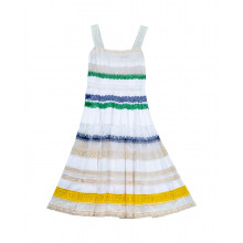 Multicolored strapped dress with lace parts Stella Jean for women