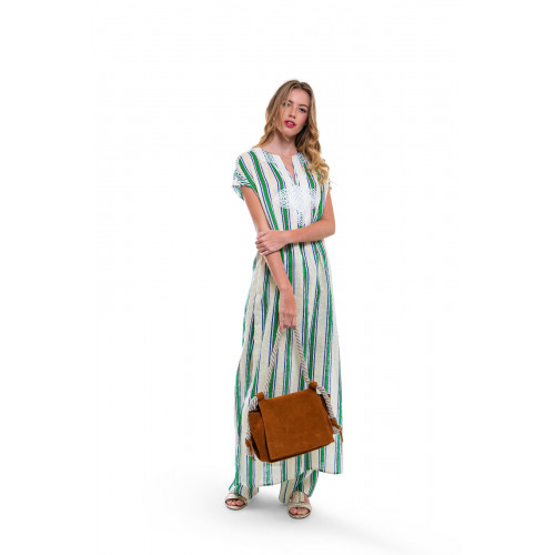 Achat Ivory caftan with grey and green stripes Tory Burch for women - Jacques-loup