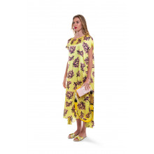 Dress Marni citrus color with coral print for women