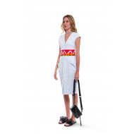 White dress with orange/red belt Stella Jean for women