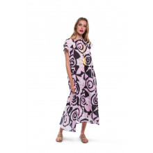 Pink dress Marni with black umbrella and flower print for women