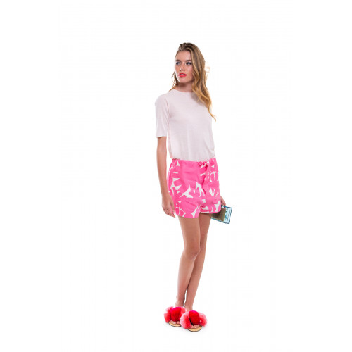 Pink shorts Marni with large white flower print for women