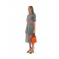 Robe Tory Burch vert et orange