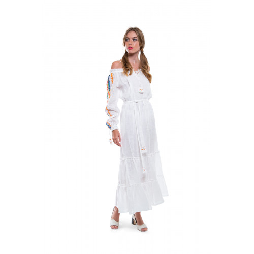 Ivory caftan with multicolored embroideries Tory Burch for women